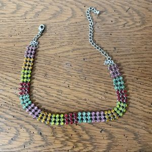 Rainbow Stone Necklace with silver accents